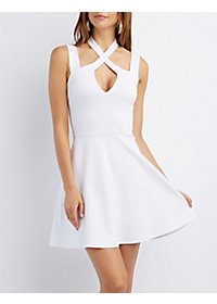 Strappy Halter Skater Dress