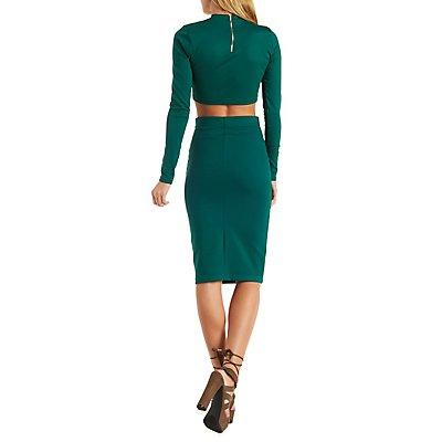 Mock Neck Crop Top & Skirt Hook-Up