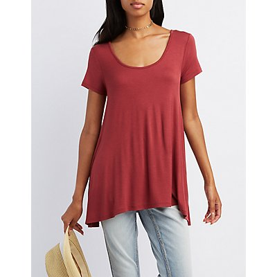 Caged-Back Scoop Neck Tee
