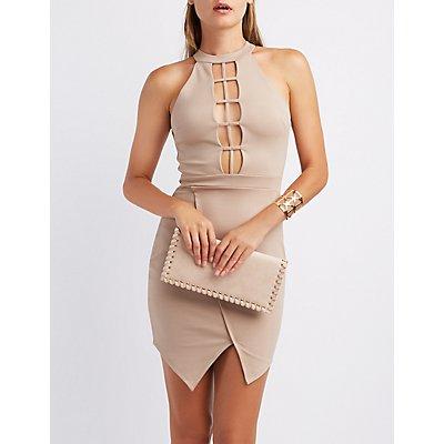 Mock Neck Lattice Asymmetrical Dress