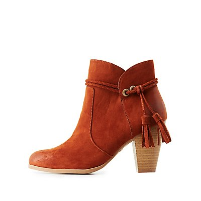 Qupid Tassel-Tie Ankle Booties