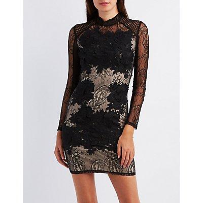 Lace Mock Neck Bodycon Dress