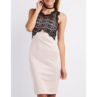 Lace Bust Bodycon Dress