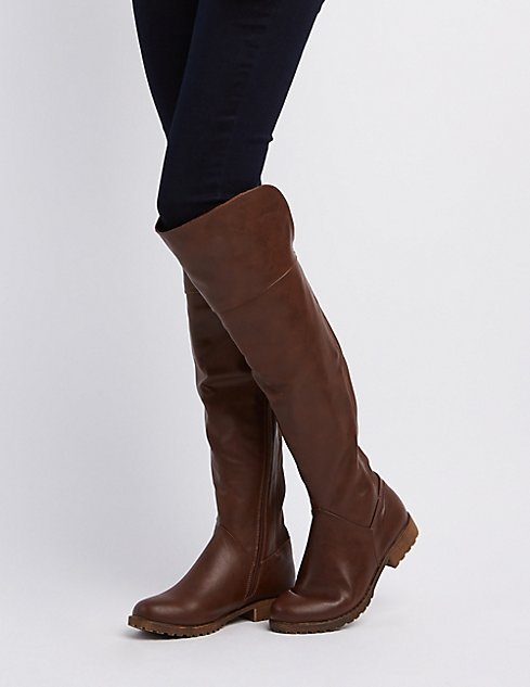 Bamboo Over-The-Knee Riding Boots | Charlotte Russe