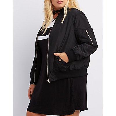 Plus Size Zip-Up Bomber Jacket