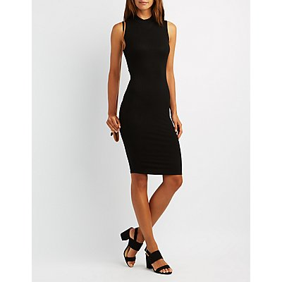 Ribbed Caged-Back Bodycon Dress