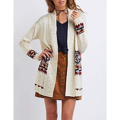Tribal Patterned Open Cardigan
