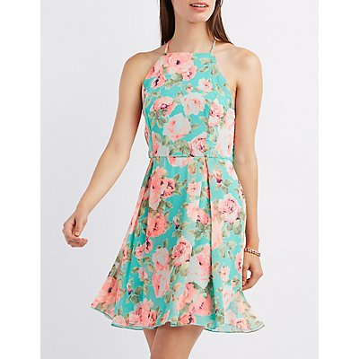 Floral Bib Neck Skater Dress