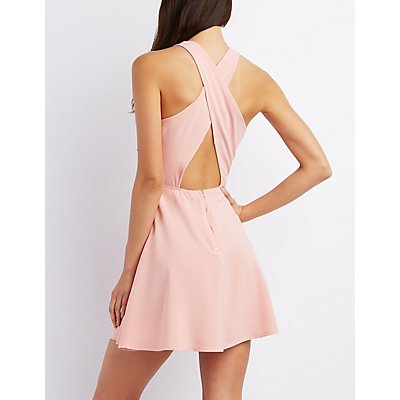 Crisscross Cut-Out Skater Dress