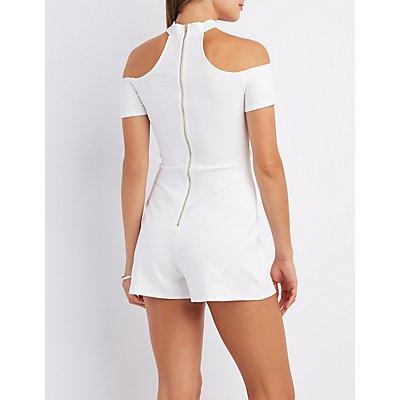 Mock Neck Off-The-Shoulder Romper