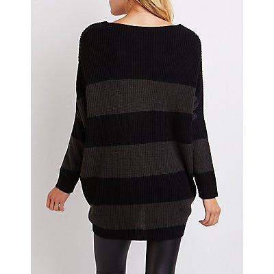 Striped Shaker Stitch Oversized Sweater