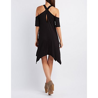 Cold Shoulder Trapeze Shift Dress