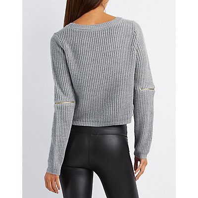Cropped Shaker Stitch Sweater