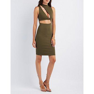 Asymmetrical Cut-Out Bodycon Dress