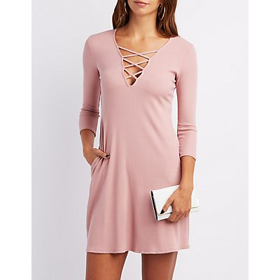 Ribbed Lattice Shift Dress