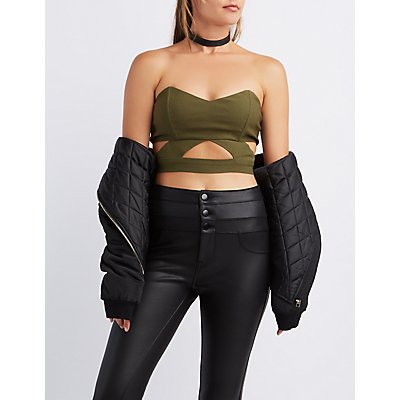 Cut-Out Strapless Crop Top