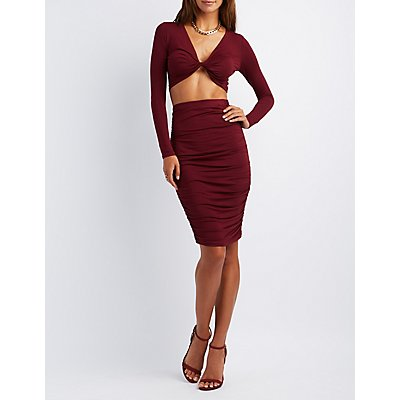 Ruched Crop Top & Skirt Hook-Up