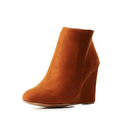 Bamboo Faux Suede Wedge Booties