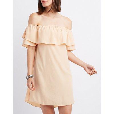 Tiered Off-The-Shoulder Shift Dress
