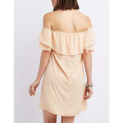 Tiered Off-The-Shoulder Shift Dress