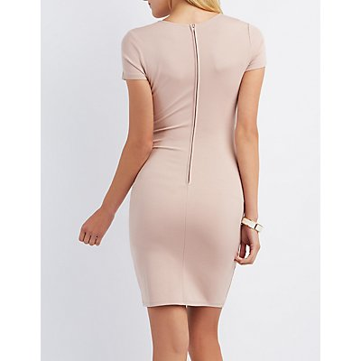 Lattice-Inset Bodycon Dress