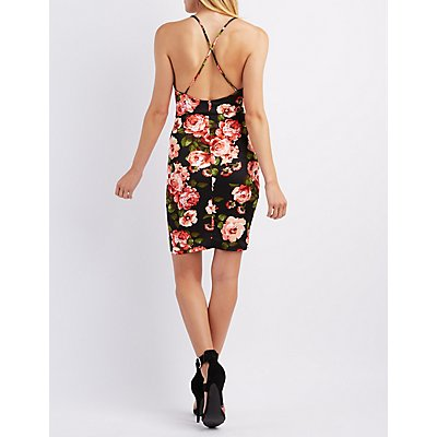 Floral Wired Notch Bodycon Dress