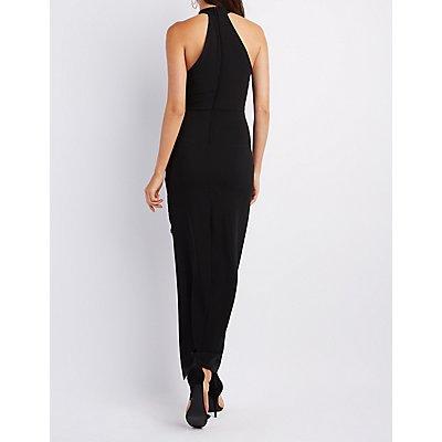 Mock Neck Asymmetrical Maxi Dress