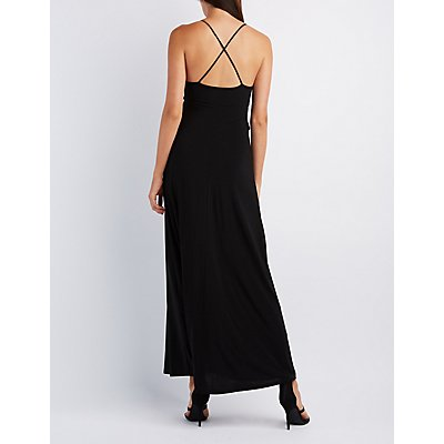 Plunging Wrap Maxi Dress