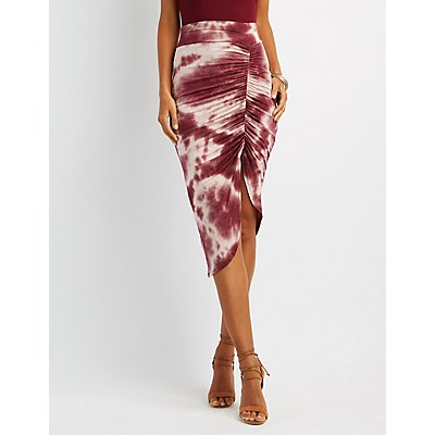 Tie-Dye Ruched Asymmetrical Skirt