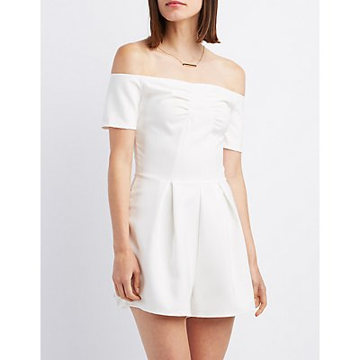 Pleated Off-The-Shoulder Romper