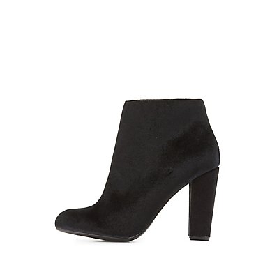 Bamboo Velvet Almond Toe Ankle Booties