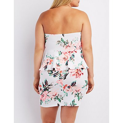 Plus Size Floral Strapless Peplum Dress