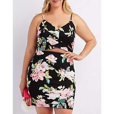 Plus Size Floral Wrap Crop Top
