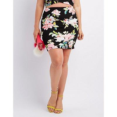 Plus Size Floral Print Pencil Skirt