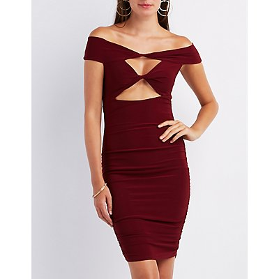 Off-The-Shoulder Ruched Cut-Out Dress