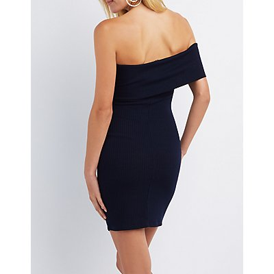 Ribbed Asymmetrical Off-The-Shoulder Dress