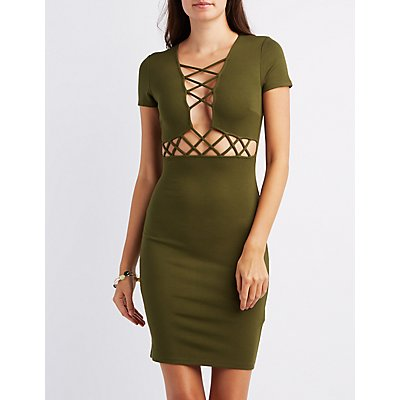 Lattice-Trim Bodycon Dress