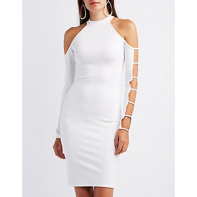 Caged Cold Shoulder Bodycon Dress