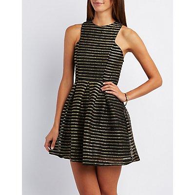 Metallic Shadow Stripe Skater Dress