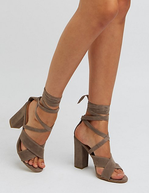 Bamboo Lace-Up Chunky Heel Sandals | Charlotte Russe
