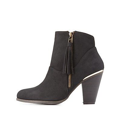 Gold-Trim Western Ankle Booties
