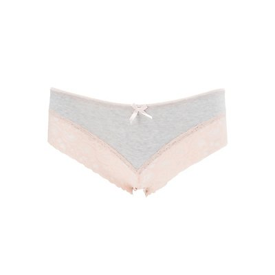 Lace-Trim Cotton Cheeky Panties