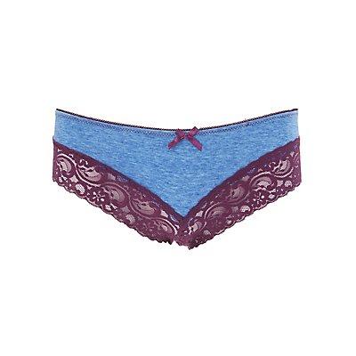 Lace-Trim Cotton Cheeky Panties