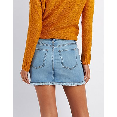 Refuge Destroyed Denim Mini Skirt | Charlotte Russe
