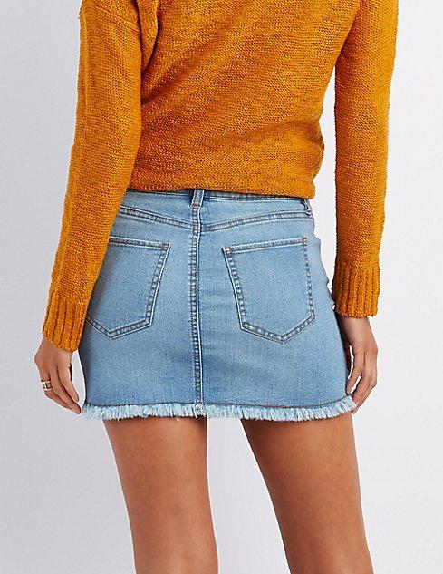 Refuge Destroyed Denim Mini Skirt | Charlotte Russe