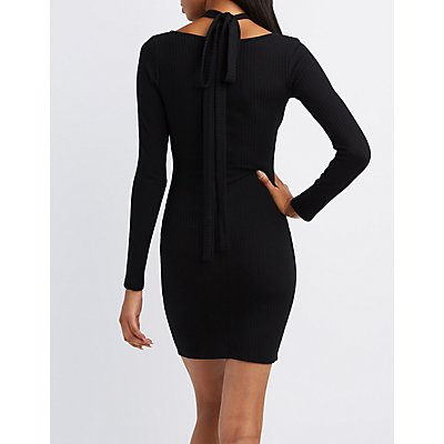 Ribbed Tie Neck Bodycon Dress
