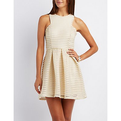 Metallic Shadow Stripe Skater Dress