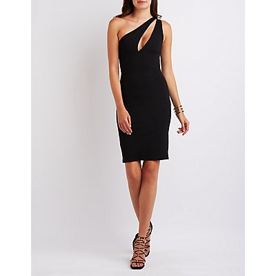 One-Shoulder Cut-Out Midi Dress