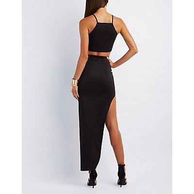 Faux Suede Crop Top & Maxi Skirt Hook-Up