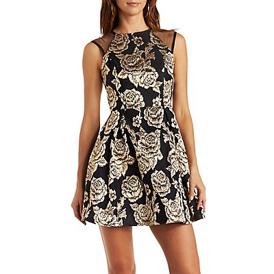 Metallic Brocade Skater Dress